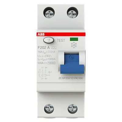 выключатель дифференциального тока ABB 10мА тип A F202 2 полюса 16 А 2CSF202101R0160