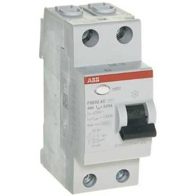 выключатель дифференциального тока ABB 30мА тип AC FH202 2 полюса 40 А 2CSF202004R1400