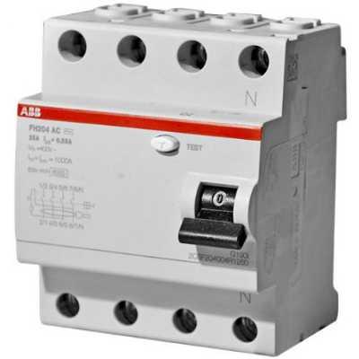 выключатель дифференциального тока ABB 30мА тип AC FH204 4 полюса 25 А 2CSF204004R1250