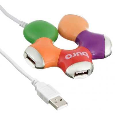 разветвитель USB Buro BU-HUB4-0.5-U2.0-FLOWER