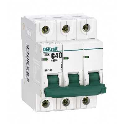 автоматический выключатель DEKraft ВА-103 3P (C) 6kA 20 А 12091DEK