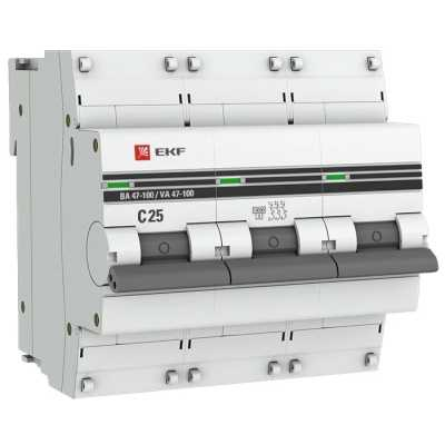 автоматический выключатель EKF ВА 47-100 3P (C) 10kA 25 А mcb47100-3-25C-pro