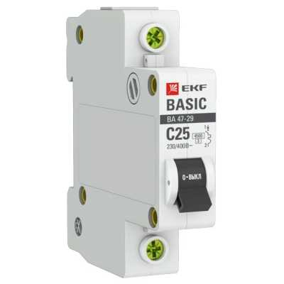автоматический выключатель EKF ВА 47-29 1P (C) 4.5kA 25 А mcb4729-1-25C
