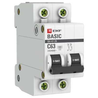 автоматический выключатель EKF ВА 47-29 2P (C) 4.5kA 63 А mcb4729-2-63C