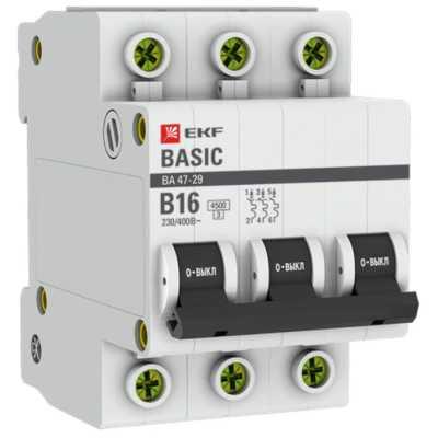 автоматический выключатель EKF ВА 47-29 3P (B) 4.5kA 16 А mcb4729-3-16-B