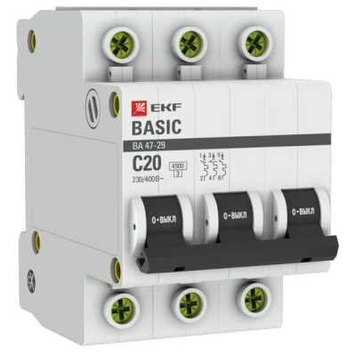 автоматический выключатель EKF ВА 47-29 3P (C) 4.5kA 20 А mcb4729-3-20C