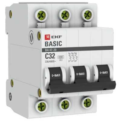 автоматический выключатель EKF ВА 47-29 3P (C) 4.5kA 32 А mcb4729-3-32C