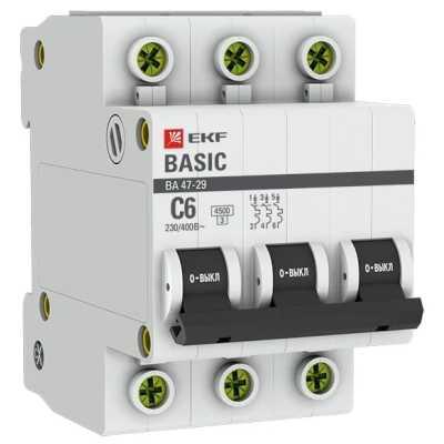 автоматический выключатель EKF ВА 47-29 3P (C) 4.5kA 6 А mcb4729-3-06C