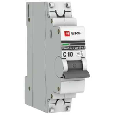 автоматический выключатель EKF ВА 47-63 1P (C) 4.5kA 10 А mcb4763-1-10C-pro