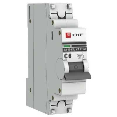 автоматический выключатель EKF ВА 47-63 1P (C) 4.5kA 6 А mcb4763-1-06C-pro