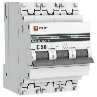 автоматический выключатель EKF ВА 47-63 3P (C) 4.5kA 50 А mcb4763-3-50C-pro