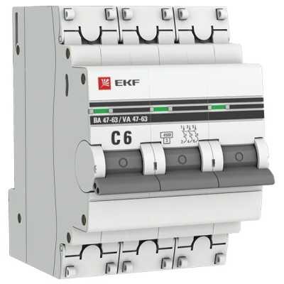 автоматический выключатель EKF ВА 47-63 3P (C) 4.5kA 6 А mcb4763-3-06C-pro