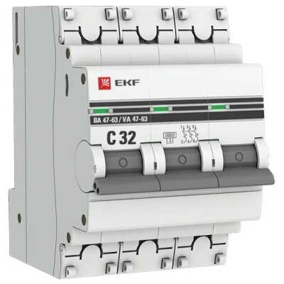 автоматический выключатель EKF ВА 47-63 3P (C) 6kA 32 А mcb4763-6-3-32C-pro