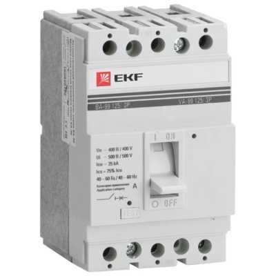 автоматический выключатель EKF ВА-99/125 3P (термомагнитный) 25kA 80 А mccb99-125-80