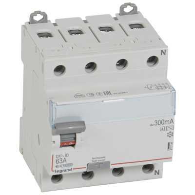 автомат дифференциальный Legrand 411746 DX -ID - 4П - 400 В - 63 А - тип AC - 300 мА - селективный - 4 модуля