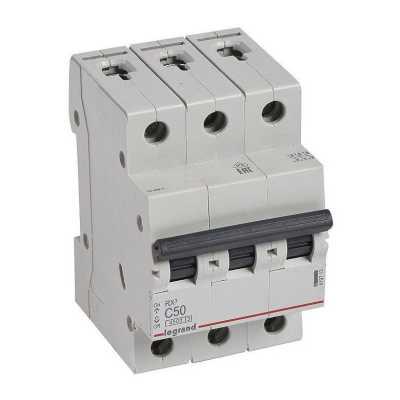 автоматический выключатель Legrand RX3 3P (C) 4.5kA 50А 419713